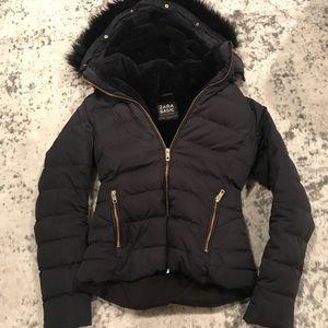 Zara fur puffer jacket xs